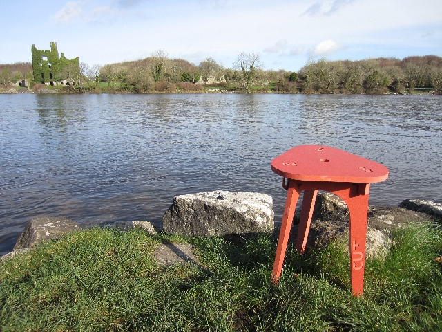 The Cut Furniture stool by the Corrib river in Galway, Ireland